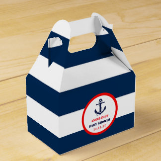 Custom Navy Blue Red Boy Nautical Baby Shower Party Favor Boxes
