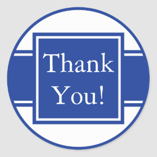 Custom Navy Blue Thank You Sticker and Favour