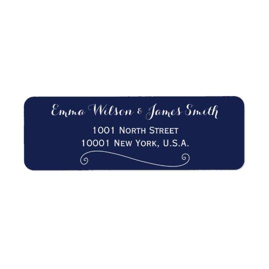 Custom Navy Blue White Personalized Address Labels