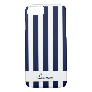 Custom Navy Stripes with Gold Accents iPhone 8/7 Case