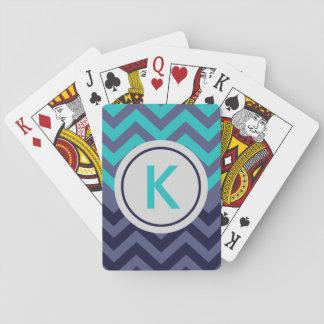 Custom Navy Teal Blue Chevron Monogram Playing Cards
