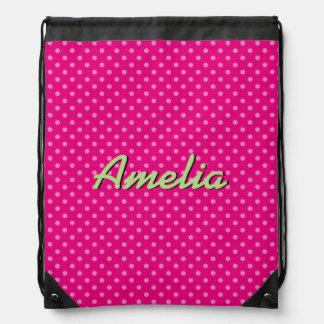Custom neon pink polkadots drawstring bag for girl