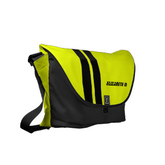 Custom Neon Yellow/Black Racing Stripe Messenger Messenger Bags