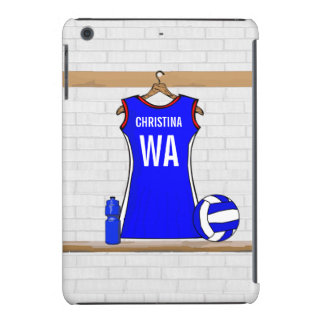 Custom Netball Uniform Blue with Red  and White iPad Mini Retina Cases