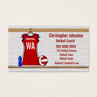 Custom Netball Uniform Red with Blue and White Business Card