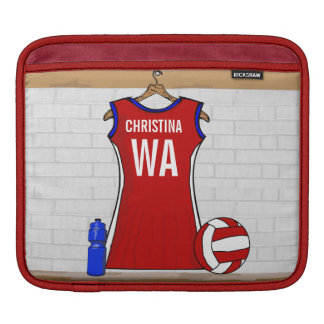 Custom Netball Uniform Red with Blue and White Sleeves For iPads