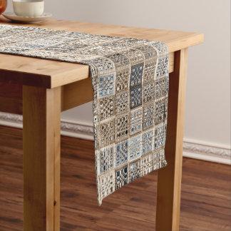 Custom neutral mosaic tile art short table runner