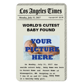Custom News Paper Birth Announcement Magnets