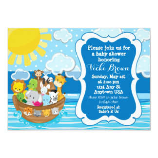 Custom Noah's Ark Baby Shower Invitation