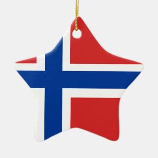 Custom Norwegian Flag (Norske Flagg) Ceramic Star Ornament