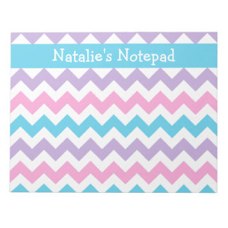 Custom Notepad, Blue, Pink, Mauve Chevrons Notepad