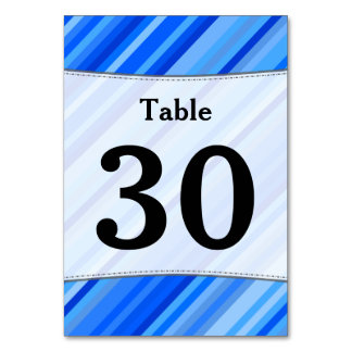 Custom Number; Stripes of Blue Pattern Table Card