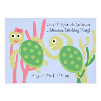 Custom Ocean Turtles Undersea Birthday Invitation