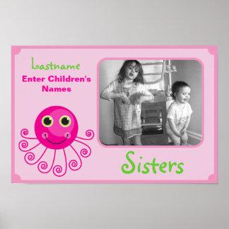 Custom Octopus Big Sister Child's Name Poster