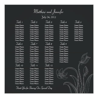 Custom Off Black Wedding Reception Seating Chart Poster