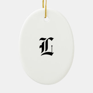 Custom Old English Font Letter (e.g. L for Letter) Ceramic Oval Ornament