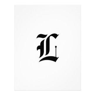 Custom Old English Font Letter (e.g. L for Letter) Letterhead Design