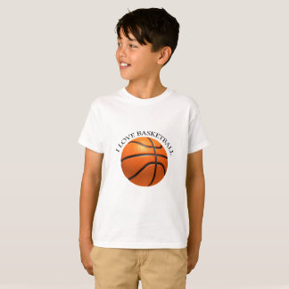 Custom orange and black leather basketball T-Shirt