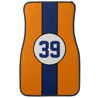 Custom Orange and Blue Stripe car mats