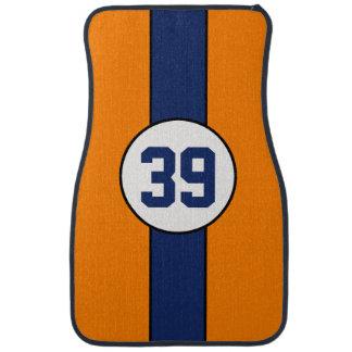 Custom Orange and Blue Stripe car mats Car Carpet