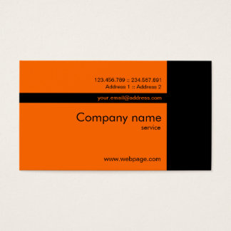 Custom orange black Business Card