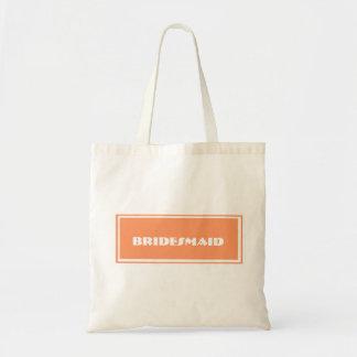 Custom Orange Bridesmaid Wedding Tote Bag