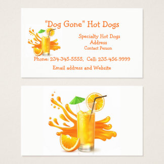 Custom Orange Juice or  or Food Cart Business Card