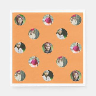 Custom Orange Photo Dot Disposable Napkins