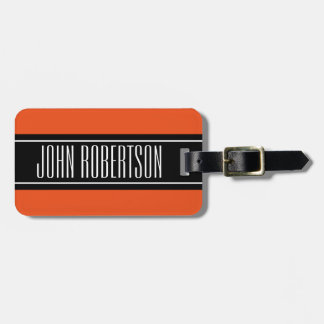 Custom orange travel luggage tag for your baggage