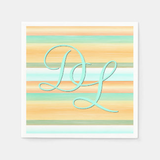 Custom Orange Turquoise Watercolor Stripes Pattern Paper Napkin