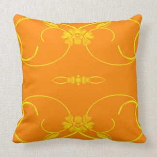 custom orange Yellow floral scroll design Pillow