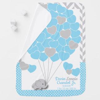 Custom Order - Blue, White Gray Elephant Baby Boy Baby Blanket