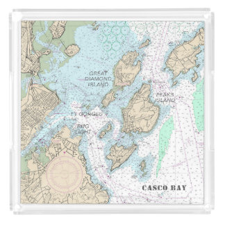 Custom Order: Casco Bay Authentic Nautical Chart Acrylic Tray