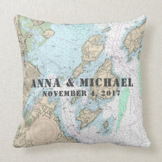 Custom Order: Casco Bay Authentic Nautical Chart Throw Pillow