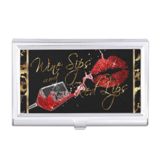 Custom Order - Wine Sips and Red Lips - Marble Business Card Holder