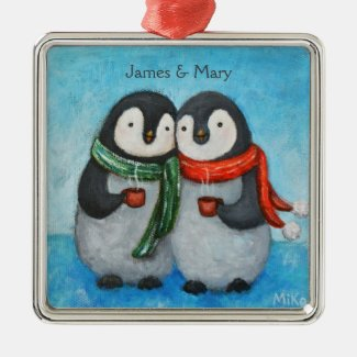 Custom Ornament First Christmas Together Penguins