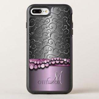 Custom Ornate Antique Faux Silver Swirls Pattern OtterBox Symmetry iPhone 8 Plus/7 Plus Case