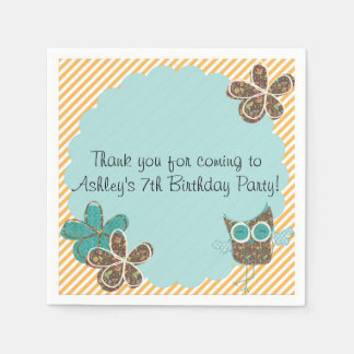 Custom Owl Birthday Party Paper Napkins