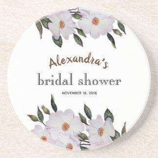 Custom Pale Pink Roses Bridal Showers Coaster