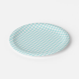 Custom Pale Turquoise Gingham 7 Inch Paper Plate