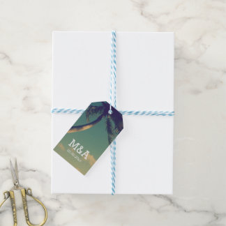 Custom palm beach photo wedding favor gift tags pack of gift tags