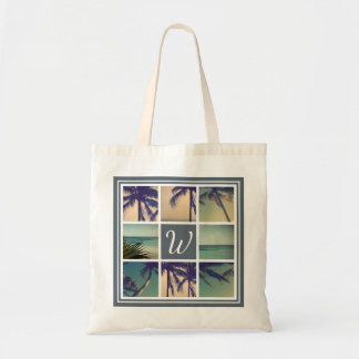 Custom palm photo collage beach wedding tote bags