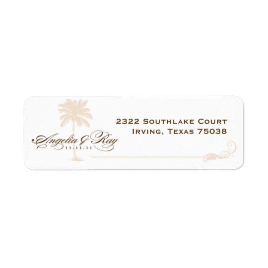 Custom Palm Tree Wedding Logo Return Address Label