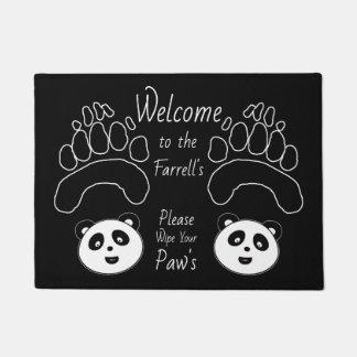 Custom Panda Welcome Mat add name wipe paws
