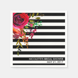 Custom Paper Napkins, Bridal Shower - Rose Stripes Paper Napkin