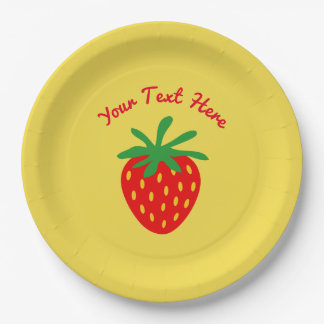 Custom paper party plate with red strawberry print