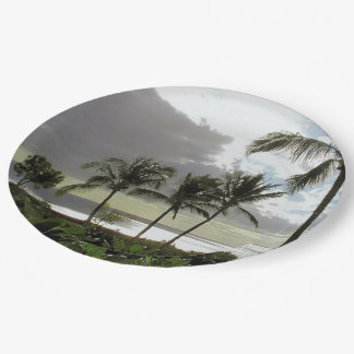 CUSTOM PAPER PLATES/PALM TREES, OCEAN AT DUSK/PHOT PAPER PLATE
