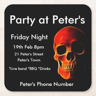 Custom Party Invitation Skull Drink Coaster