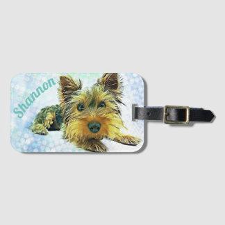 Custom Pastel Puppy Dog Yorkie Yorkshire Terrier Luggage Tag