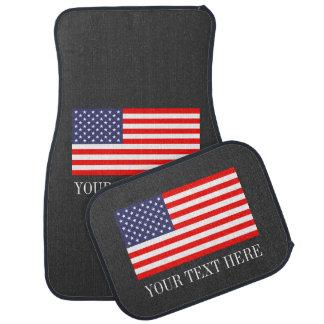 Custom patriotic American flag car mat set
